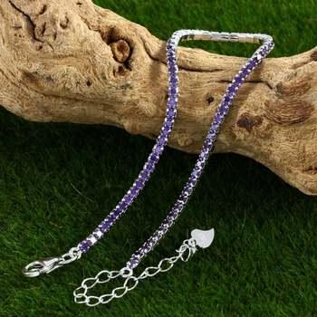 Solid .925 Sterling Silver, 2.00ctw Amethyst Tennis Bracelet
