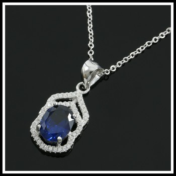 Solid .925 Sterling Silver, 2.00ctw Blue & White Sapphire Necklace