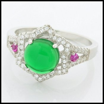 Solid .925 Sterling Silver, 2.00ctw Cabochon Emerald & 0.030ctw Pink Sapphire & (AAA Grade) CZ's Ring sz 8