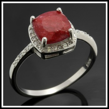 Solid .925 Sterling Silver, 2.00ctw Dyed Ruby & Created White Sapphire Ring sz 8