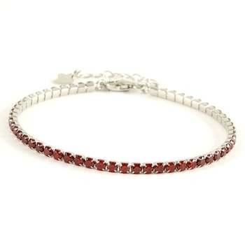 Solid .925 Sterling Silver, 2.00ctw Garnet Tennis Bracelet