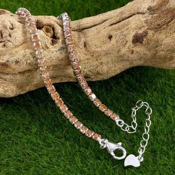 Solid .925 Sterling Silver, 2.00ctw Golden Topaz Tennis Bracelet
