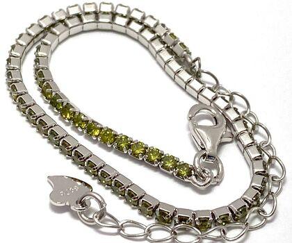 Solid .925 Sterling Silver, 2.00ctw Peridot Tennis Bracelet