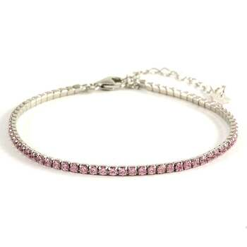 Solid .925 Sterling Silver, 2.00ctw Pink Sapphire Tennis Bracelet