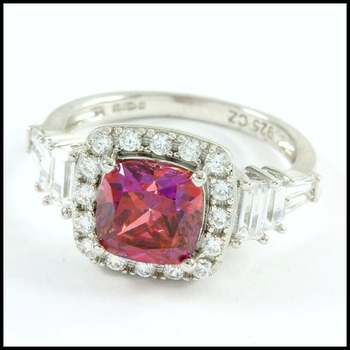 Solid .925 Sterling Silver, 2.00ctw Pink Sapphire & White Sapphire Ring Size 6
