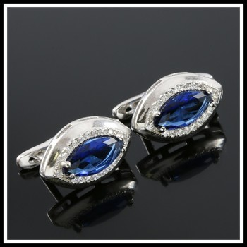 Solid .925 Sterling Silver, 2.00ctw White & Blue Sapphire Earrings