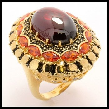 Solid .925 Sterling Silver, 2.00ctw White & Golden Topaz, Cabochon Garnet Ring Size 7