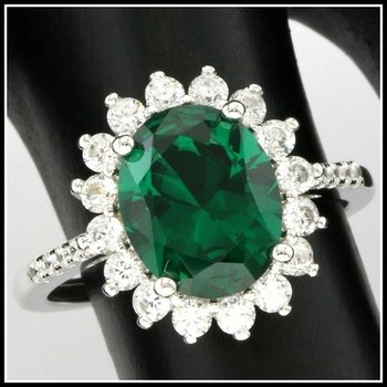 Solid .925 Sterling Silver, 2.06ctw Emerald & White Sapphire Ring sz 6.5