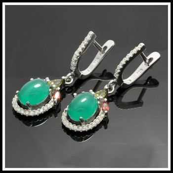 Solid .925 Sterling Silver, 2.06ctw Peridot, Emerald, Amethyst, Ruby &  White Sapphire Earring