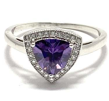 Solid .925 Sterling Silver, 2.0ctw Amethyst & 0.15ctw White Diamonique Ring Size 7