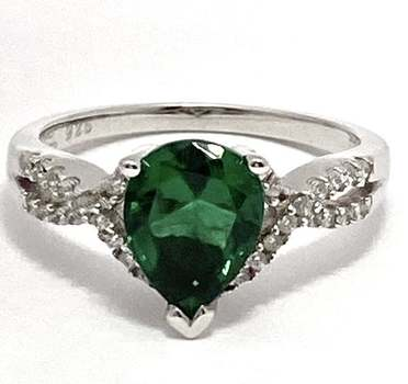 Solid .925 Sterling Silver, 2.0ctw Emerald & 0.25ctw White Diamonique Ring Size 6.5