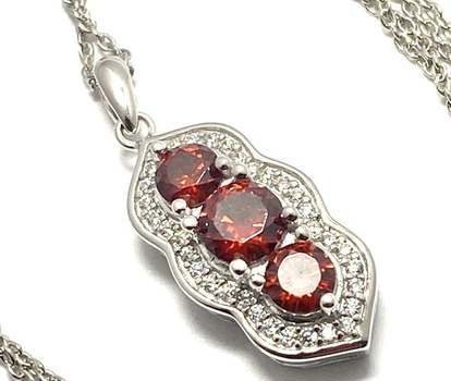 Solid .925 Sterling Silver, 2.0ctw Garnet & 0.35ctw White Diamonique Necklace