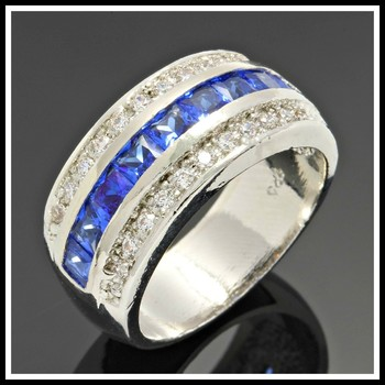 Solid .925 Sterling Silver, 2.15ctw Blue & White Sapphire Ring Size 8