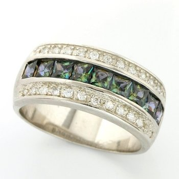 Solid .925 Sterling Silver, 2.15ctw Green Mystic & White Topaz Ring sz 8
