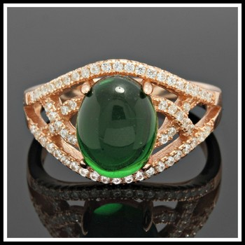 Solid .925 Sterling Silver, 2.20ctw White Sapphire & Cabochon Emerald Ring sz 9