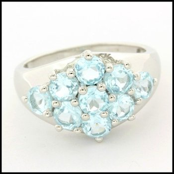 Solid .925 Sterling Silver, 2.25ctw Genuine Sky Topaz Ring sz 8
