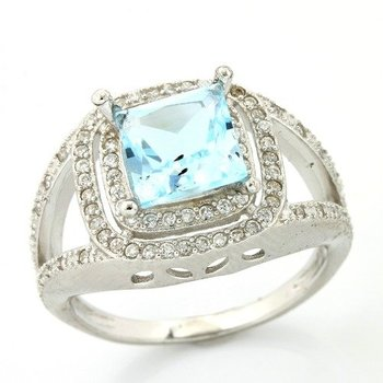 Solid .925 Sterling Silver, 2.38ctw Sky Blue Topaz & CZ's Ring sz 8