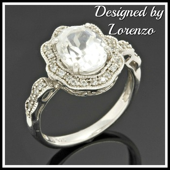 Solid .925 Sterling Silver, 2.39ctw White Topaz Designer Authentic ColoreSG by LORENZO Ring Size 6.5