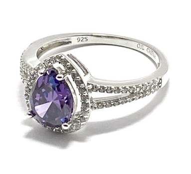 Solid .925 Sterling Silver, 2.50ctw Amethyst & 0.20ctw White Diamonique Ring Size 8.5