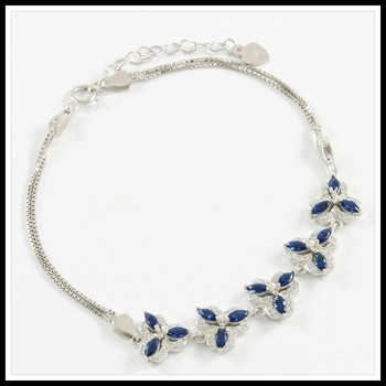 Solid .925 Sterling Silver, 2.50ctw Blue & White Sapphire Bracelet