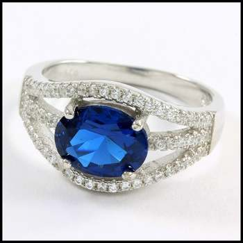 Solid .925 Sterling Silver, 2.50ctw Blue & White Sapphire Ring Size 8
