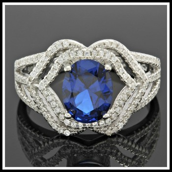 Solid .925 Sterling Silver, 2.50ctw Blue & White Sapphire Ring sz 6
