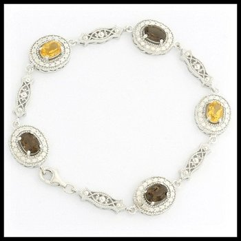 Solid .925 Sterling Silver, 2.50ctw Citrine & Smoky Topaz Necklace