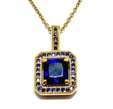Solid .925 Sterling Silver, 2.50ctw Created Sapphire Necklace