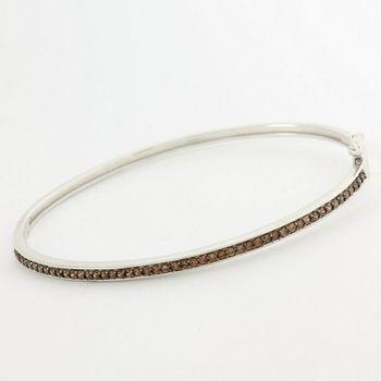 Solid .925 Sterling Silver, 2.50ctw Genuine Smoky Quartz Bracelet