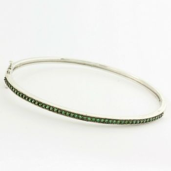 Solid .925 Sterling Silver, 2.50ctw Green Tourmaline Bracelet