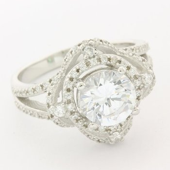 Solid .925 Sterling Silver, 2.54ctw White Topaz Ring sz 8