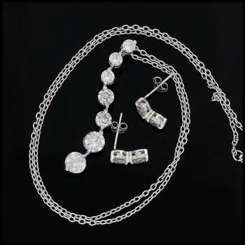 Solid .925 Sterling Silver, 2.55ctw AAA Grade CZ's Set of Necklace & Earrings