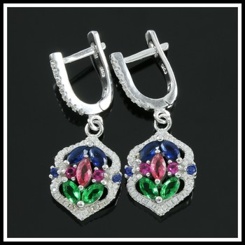 Solid .925 Sterling Silver, 2.60ctw Emerald, Ruby, Citrine, White & Blue Sapphire Earrings