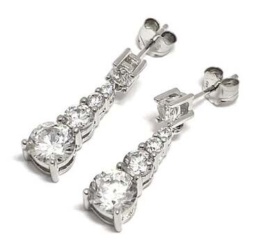 Solid .925 Sterling Silver, 2.70ctw White Diamonique Earrings