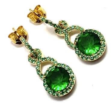 Solid .925 Sterling Silver, 2.75ctw Emerald Earrings