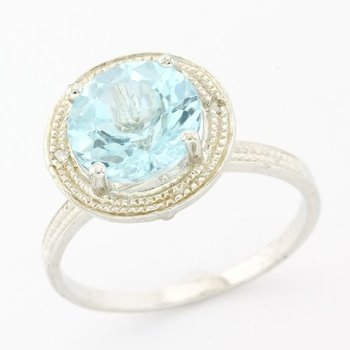 Solid .925 Sterling Silver, 2.75ctw Genuine Blue Topaz & 0.01ctw Genuine Diamond Ring sz 8