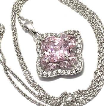 Solid .925 Sterling Silver, 2.75ctw Pink Topaz & 0.25ctw White Diamonique Necklace