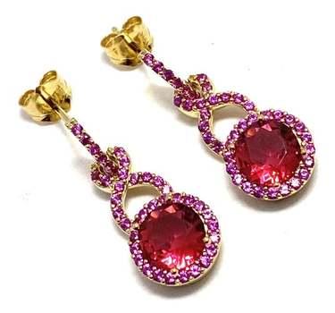 Solid .925 Sterling Silver, 2.75ctw Ruby Earrings