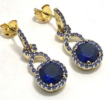 Solid .925 Sterling Silver, 2.75ctw Sapphire Earrings