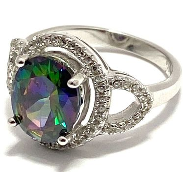 Solid .925 Sterling Silver, 2.80ctw White Sapphire & Green Mystic Topaz Ring sz 6