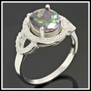 Solid .925 Sterling Silver, 2.80ctw White Sapphire & Green Mystic Topaz Ring sz 7