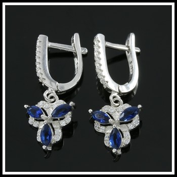 Solid .925 Sterling Silver, 3.00ctw Blue & White Sapphire Earrings
