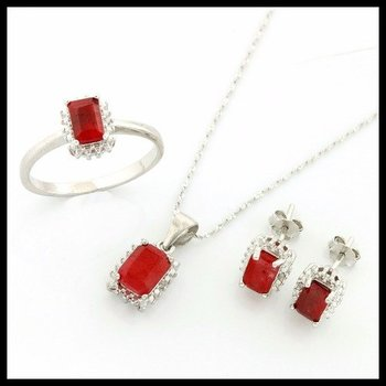 Solid .925 Sterling Silver, 3.00ctw Dyed Ruby Set of Necklace, Earrings & Ring sz 8