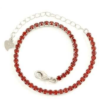 Solid .925 Sterling Silver, 3.00ctw Garnet Tennis Bracelet