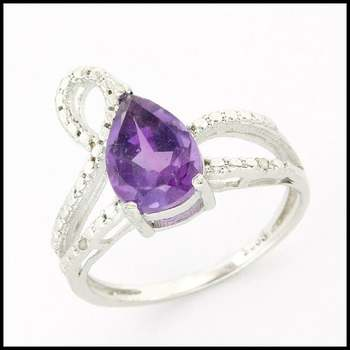 Solid .925 Sterling Silver, 3.00ctw Genuine Amethyst &  0.01ctw Genuine Diamond Ring sz 7