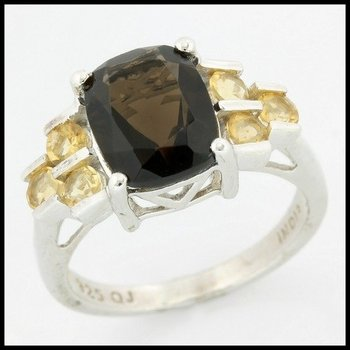 Solid .925 Sterling Silver, 3.00ctw Genuine Smoky Quartz & 1.50ctw Citrine Ring size 8