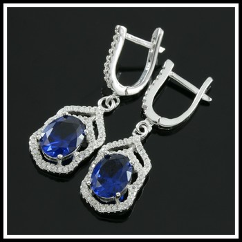 Solid .925 Sterling Silver, 3.00ctw White Topaz & Sapphire Earrings