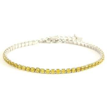 Solid .925 Sterling Silver, 3.00ctw Yellow Topaz Tennis Bracelet