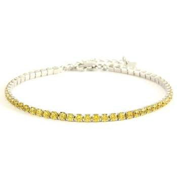 Solid .925 Sterling Silver, 3.00ctw Yellow Topaz Tennis Bracelet