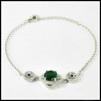 Solid .925 Sterling Silver, 3.05ctw Emerald, Sapphire & (AAA Grade) CZ's Bracelet